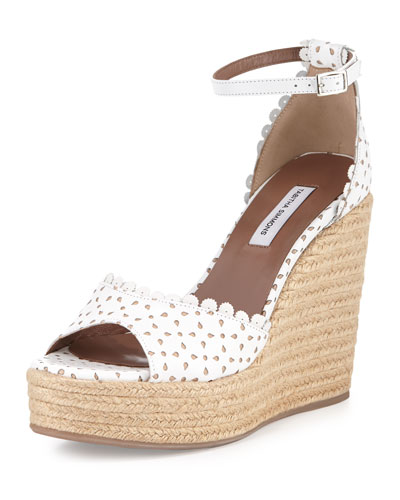 Harp Eyelet Leather Espadrille Wedge Sandal, White