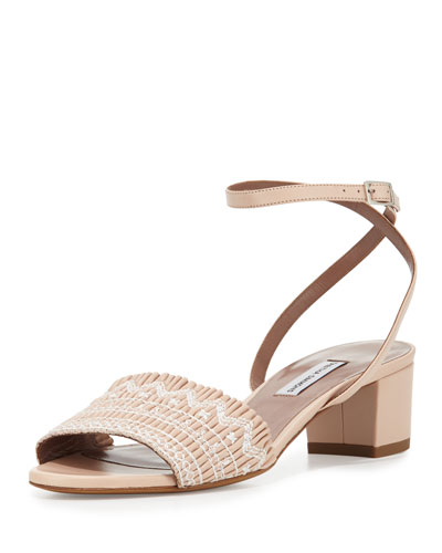 Idabell 40mm Smocked City Sandal, Nude
