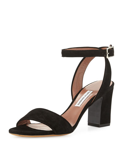 Leticia Suede 75mm City Sandal, Black
