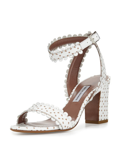 Leticia Eyelet Leather City Sandal, White