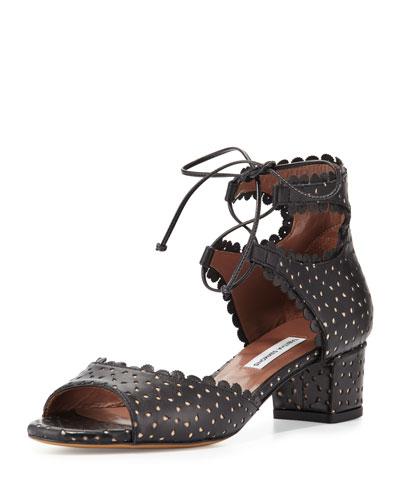 Tallulah Eyelet Leather Sandal, Black