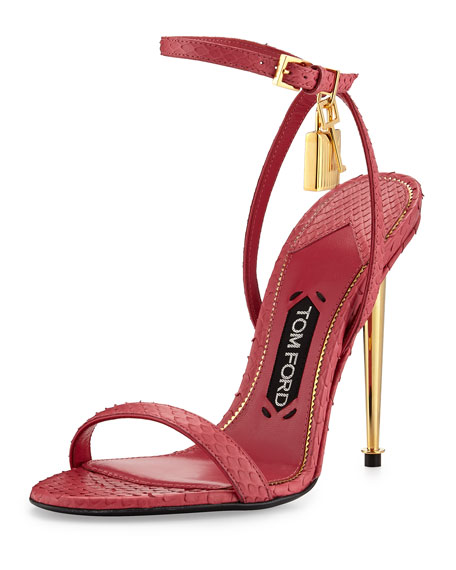 TOM FORD Lock Ankle-Wrap Python 110mm Sandal, Fuchsia
