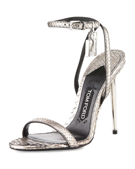 TOM FORD Lock Ankle-Wrap Python 110mm Sandal, Silver