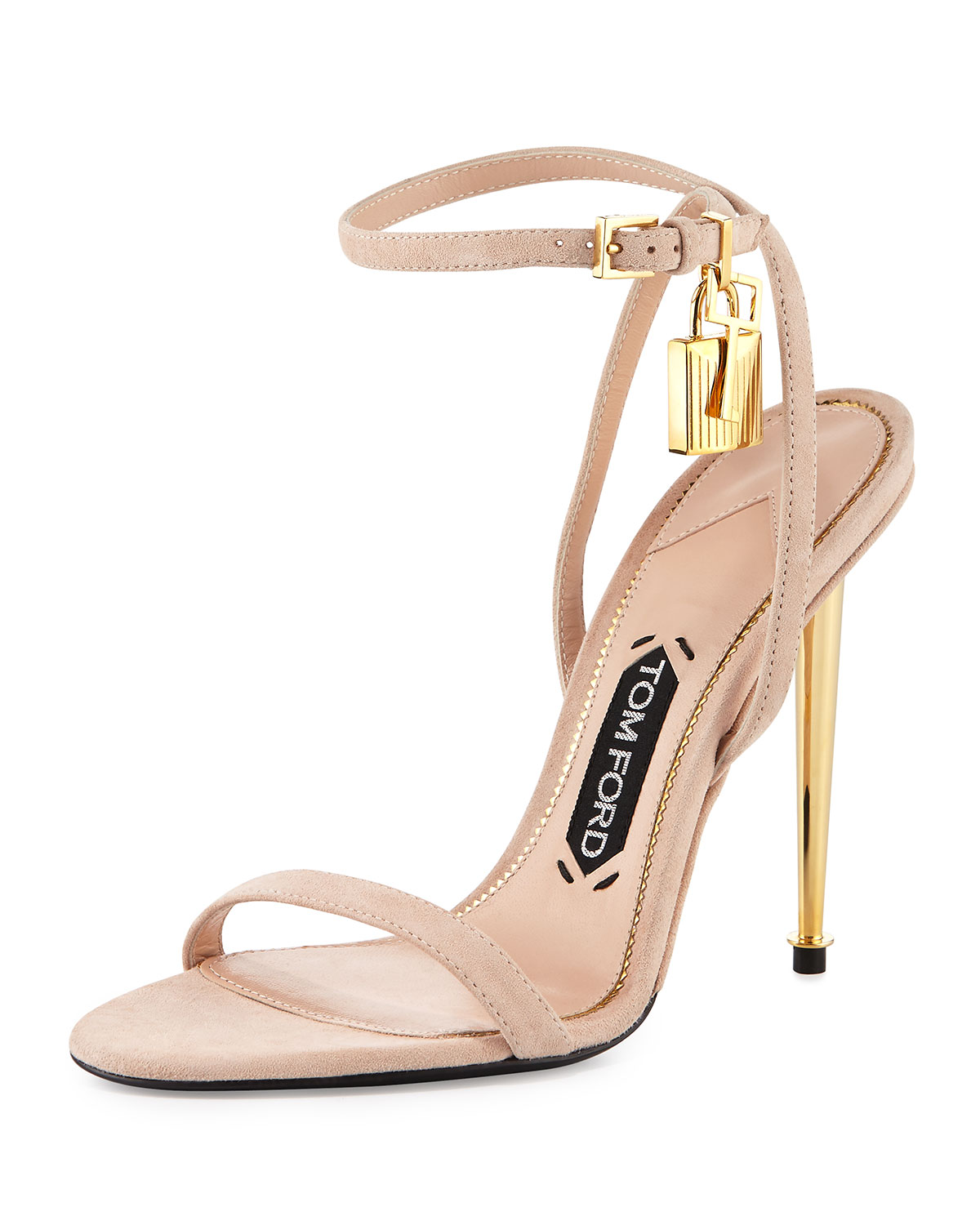 82aaa6ff6e2 TOM FORD Lock Ankle-Wrap Suede 110mm Sandal