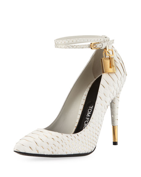 TOM FORD Python Ankle-Lock 105mm Pump, Chalk/Gold