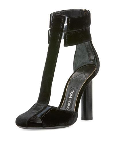 b00a42668dd TOM FORD Velvet T-Strap 115mm Chunky-Heel Sandal