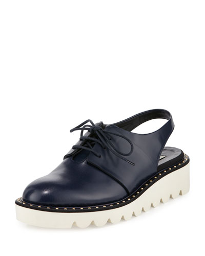 Faux-Leather Slingback Oxford, Navy