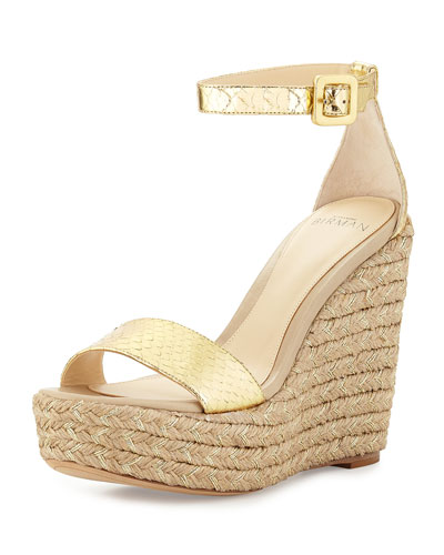 Snake-Embossed Espadrille Wedge Sandal, Gold