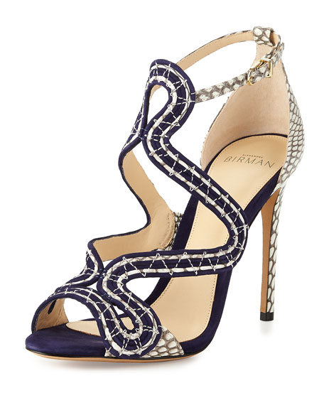 New Alice Suede/Snake 100mm Sandal, Bali/Mono Natural