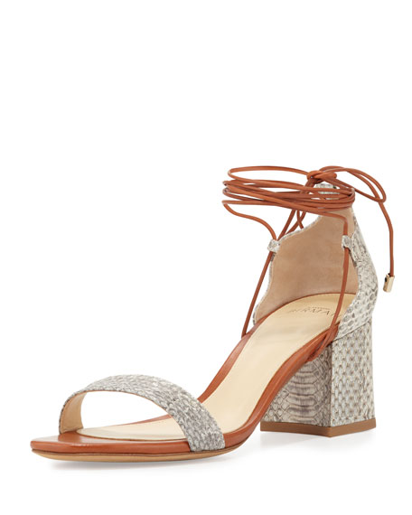 Alexandre Birman Lovely Snakeskin City Sandal, Natural/Sierra