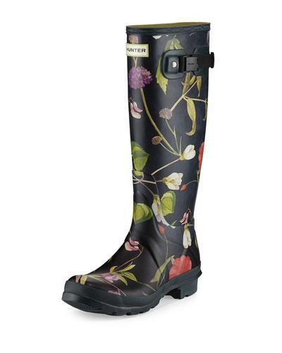 Original Tall Floral-Print Rain Boot, Black/Multi