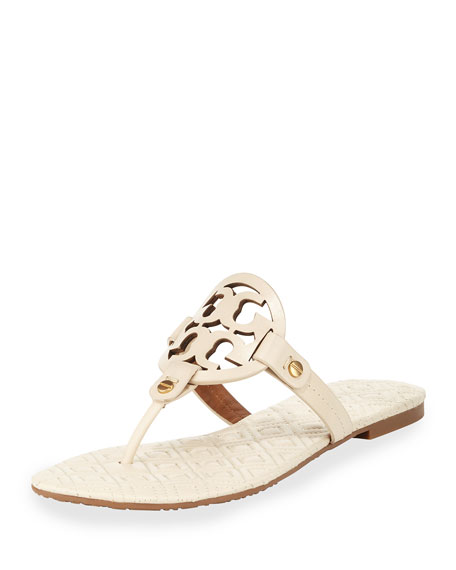 Tory Burch Miller Quilted-Sole Thong Sandal, White