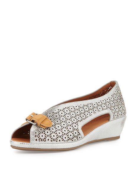 Gentle Souls Lanner Laser-Cut Slip-On Wedge, Ice