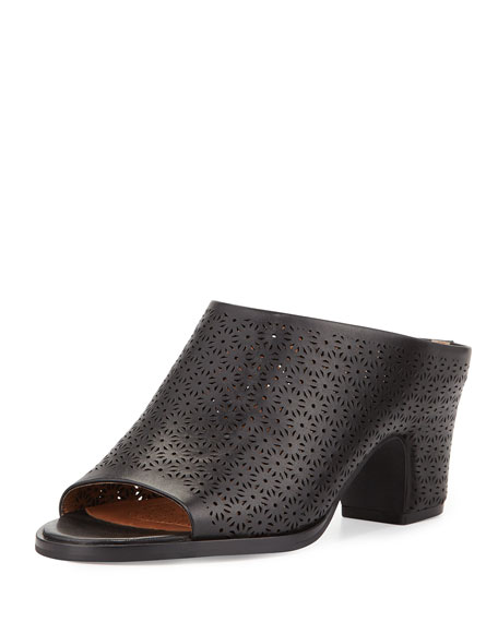 Gentle Souls Post Laser-Cut Low-Heel Mule, Black