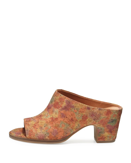 Post Cork Mule Pump, Natural Floral