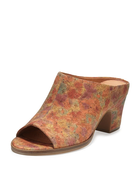 Gentle Souls Post Cork Mule Pump, Natural Floral