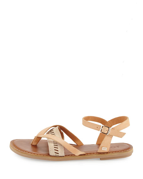 Lexie Leather Flat Thong Sandal, Natural