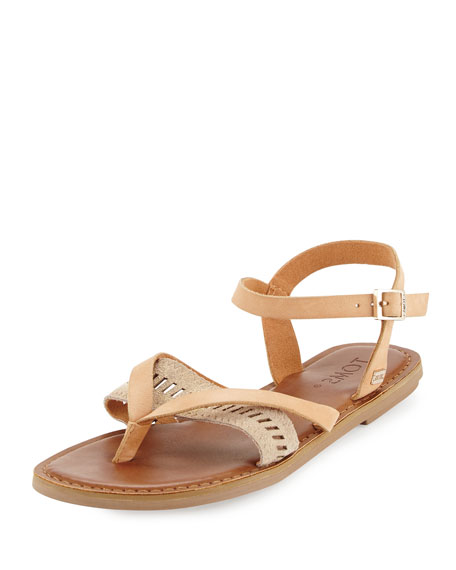 TOMS Lexie Leather Flat Thong Sandal, Natural