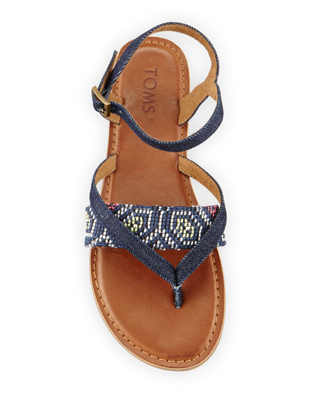 Lexie Denim Flat Thong Sandal, Navy