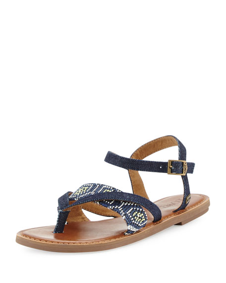 TOMS Lexie Denim Flat Thong Sandal, Navy