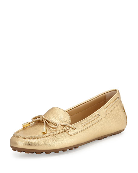 Daisy Metallic Leather Moccasin, Pale Gold