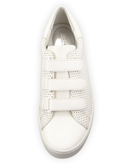 Craig Perforated Leather Grip-Strap Sneaker, Optic White