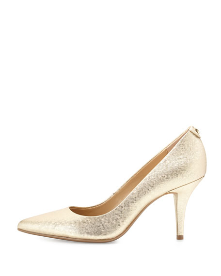 MICHAEL Michael Kors MK-Flex Leather Mid-Heel Pump, Pale Gold