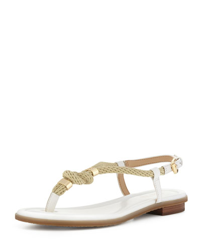 Holly Knotted Rope Flat Thong Sandal, Optic White