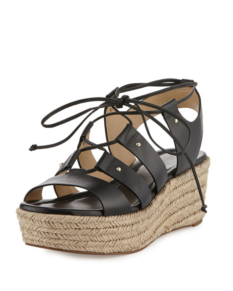 michael michael kors sofia lace up mid wedge sandal black. Black Bedroom Furniture Sets. Home Design Ideas
