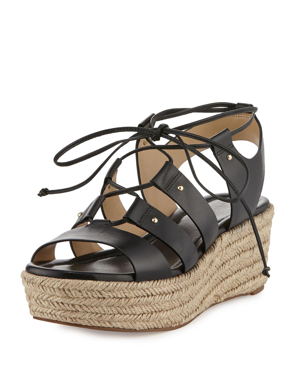 dbf18622848 MICHAEL Michael Kors Sofia Lace-Up Mid-Wedge Sandal