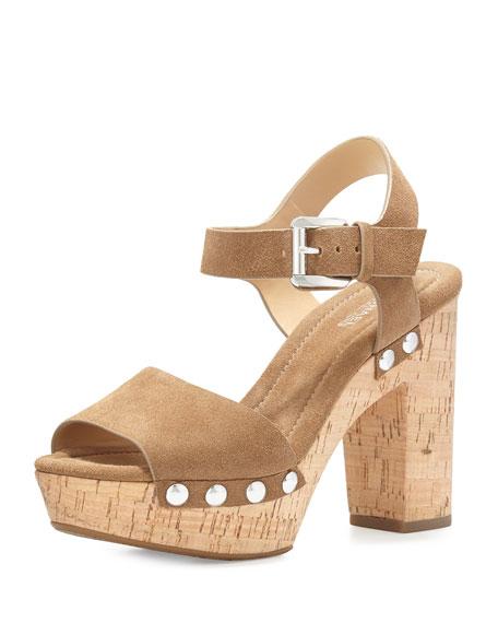 MICHAEL Michael Kors Hayden Suede Platform Sandal, Desert