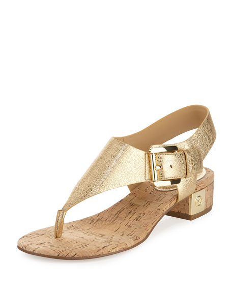 MICHAEL Michael Kors London Metallic Low-Heel Thong Sandal, Pale Gold