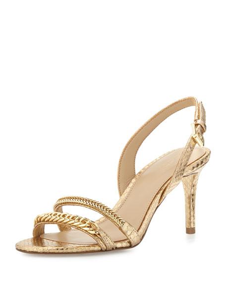 MICHAEL Michael Kors Jackie Chain-Link Mid-Heel Sandal, Pale Gold