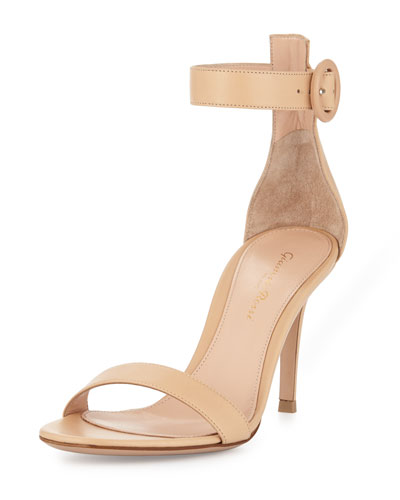 Leather Ankle-Strap Simple Sandal, Nude