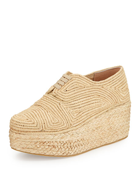 Robert Clergerie Pinto Flatform Lace-Up Shoe, Natural
