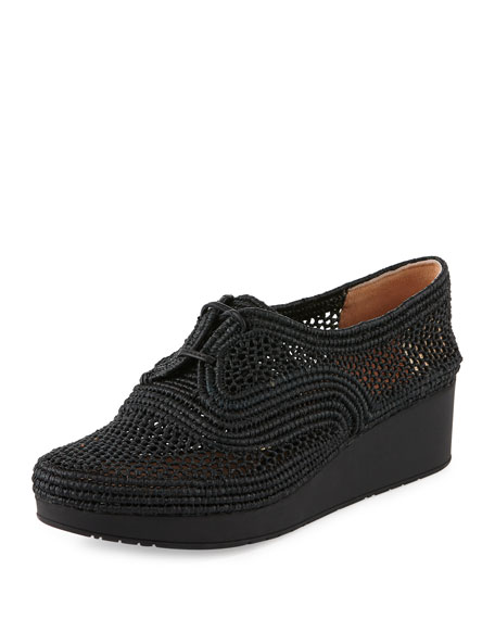 Robert Clergerie Vicolek Woven Raffia Demi-Wedge Sneaker, Black