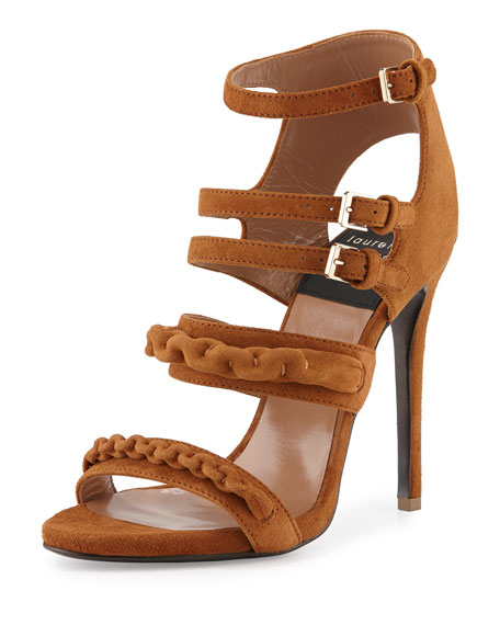 Kimy Suede Chain Strappy Sandal, Camel