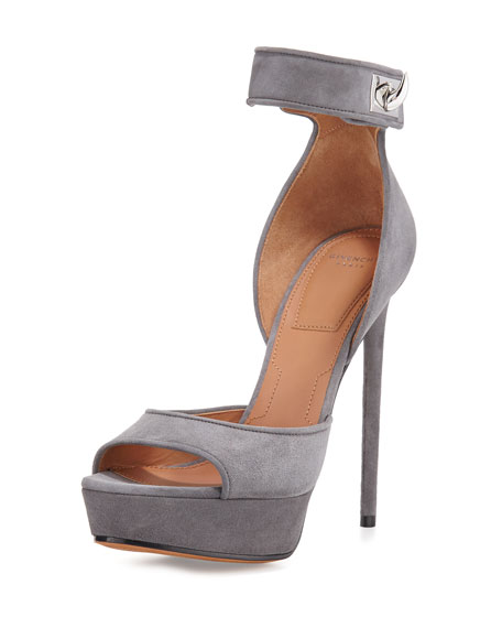 Givenchy Plara Shark-Lock d'Orsay Sandal, Dark Gray