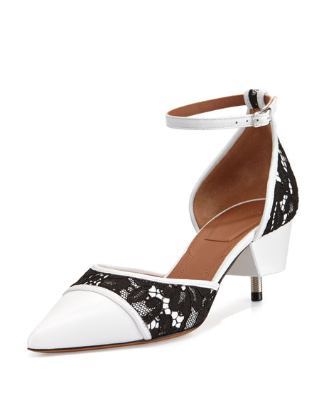 Givenchy Ranelle Lace & Leather Screw-Heel Pump, White/Black