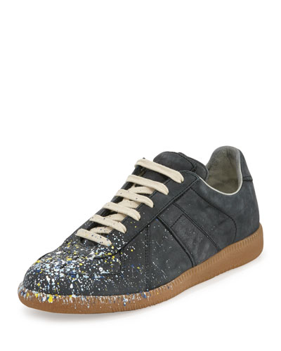 Paint Splatter Leather Sneaker, Black