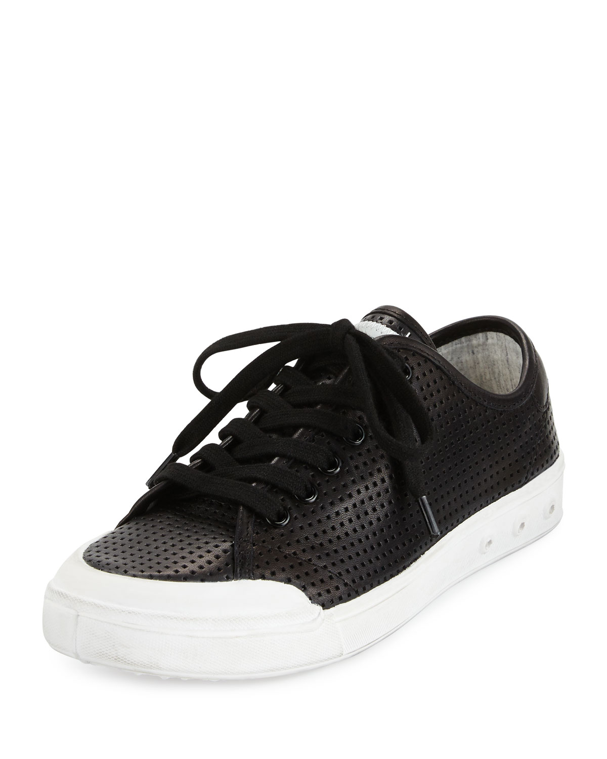 Rag & Bone Standard Issue Perforated Lace-Up Sneaker, Black | Neiman Marcus