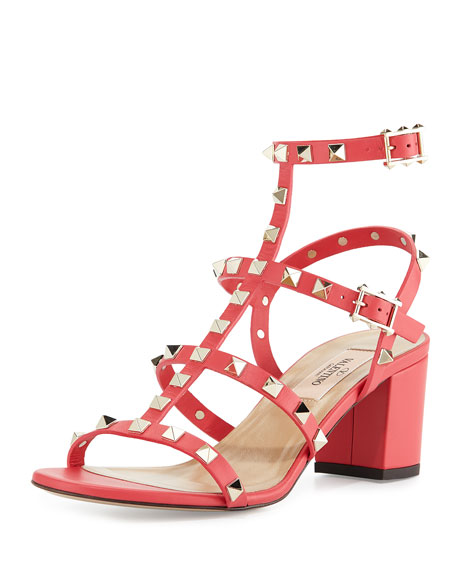 Valentino Rockstud Leather City Sandal, Fragola