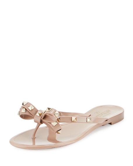 Valentino Rockstud PVC Flat Thong Sandal, Poudre