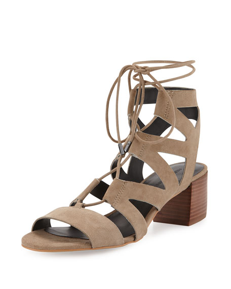 Issa Lace-Up Mid-Heel Sandal, Taupe