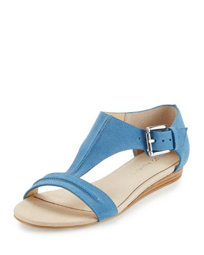 Bravo Suede T-Strap Demi-Wedge Sandal, Light Denim