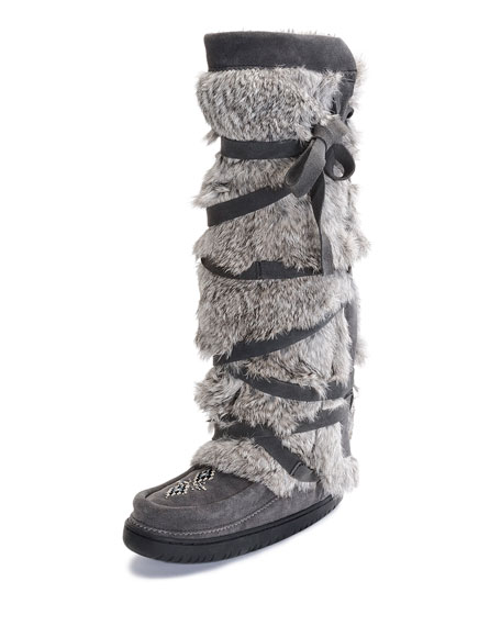 Mukluks Rabbit Fur Tall Wrap Mukluk Boot Gray Neiman Marcus