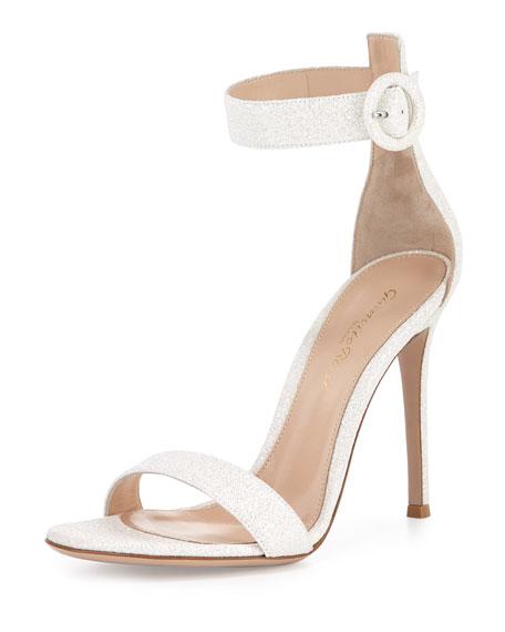 Gianvito Rossi Portofino Glitter Ankle-Wrap Sandal, Bright White