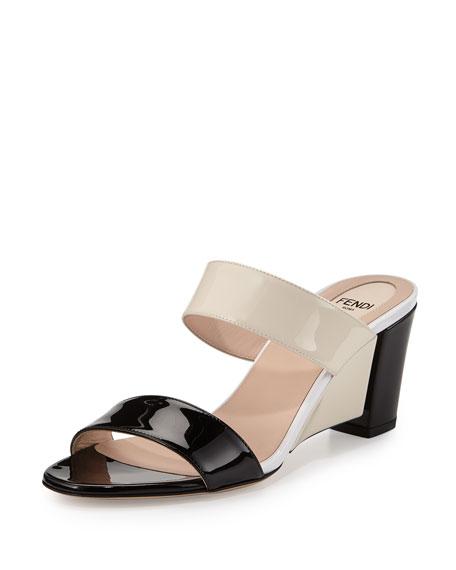 Fendi Two-Band Slide Wedge Sandal, Black/Nude/Milk White