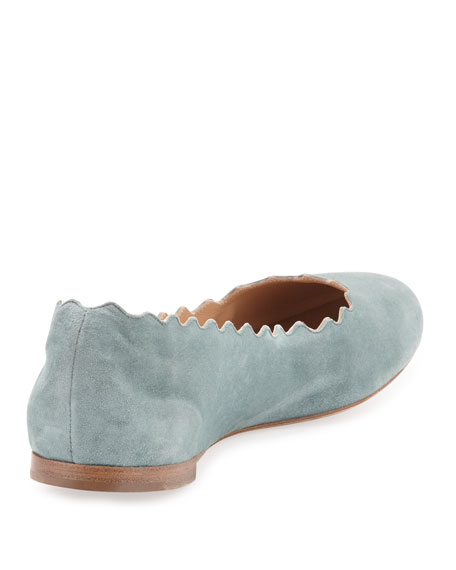 Lauren Scalloped Suede Ballerina Flat, Blue Lake