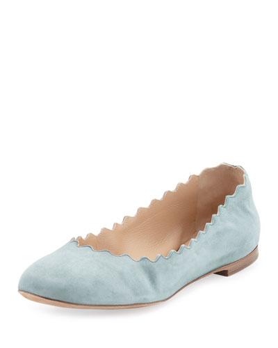Scalloped Suede Ballerina Flat, Blue Lake